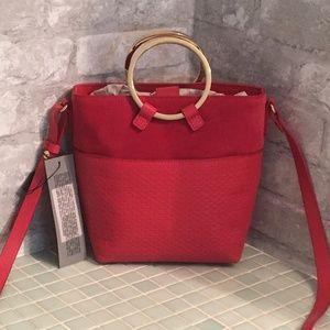 Halston Heritage Leather Ring-Handle Bucket Bag